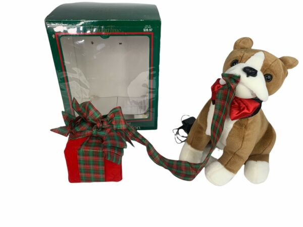 Holiday Time Animated Boxer Dog Opening Present Christmas 16quot; Tall See Video $79.99