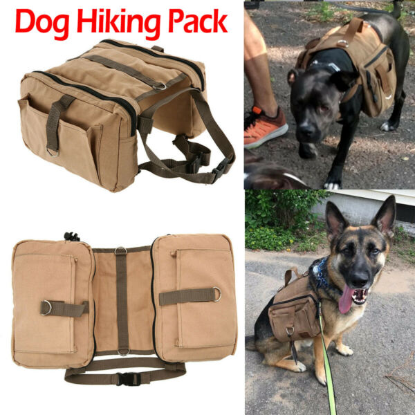 Retro Brown Canvas Dog Hiking Pack Hound Backpack Saddle Bag Easy To Clean $24.65
