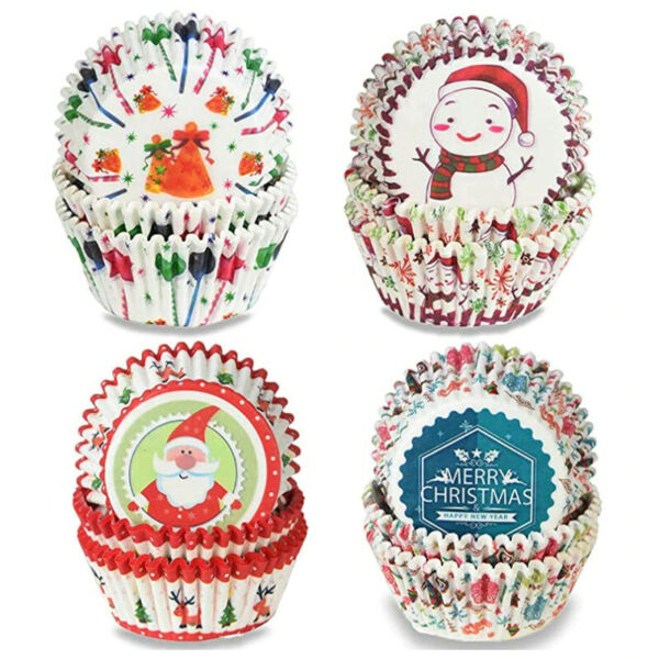 Christmas Cupcake Liners Cups Paper Muffin Cake Holiday Party Baking Tool 100pcs