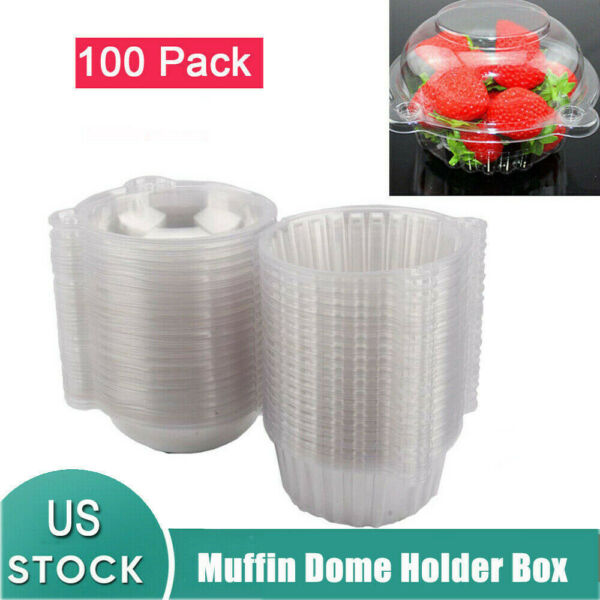 100pcs Individual CupCake Boxes Clear Plastic Single Muffin Case Pods Domes USA