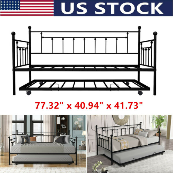 Twin Trundle DayBed w 4 Casters Platform Bed Sofa DayBed Living Room Furniture $199.99