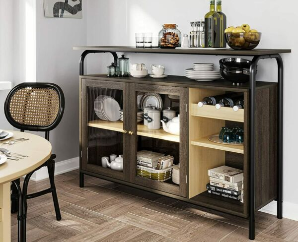 Kitchen Buffet Storage Cabinet Sideboard with Wine Racks amp; Glass Doors amp; Shelves