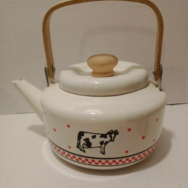 Vintage Enamel and Wood Kettle Checker Board with Hearts and Cows Country $23.00