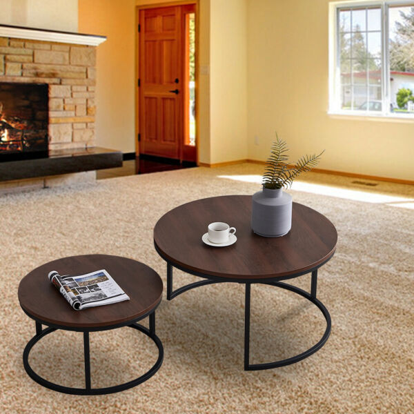 Modern Nesting Coffee Table Sets of 2 Walnut Brown Round Wood Accent Side Table