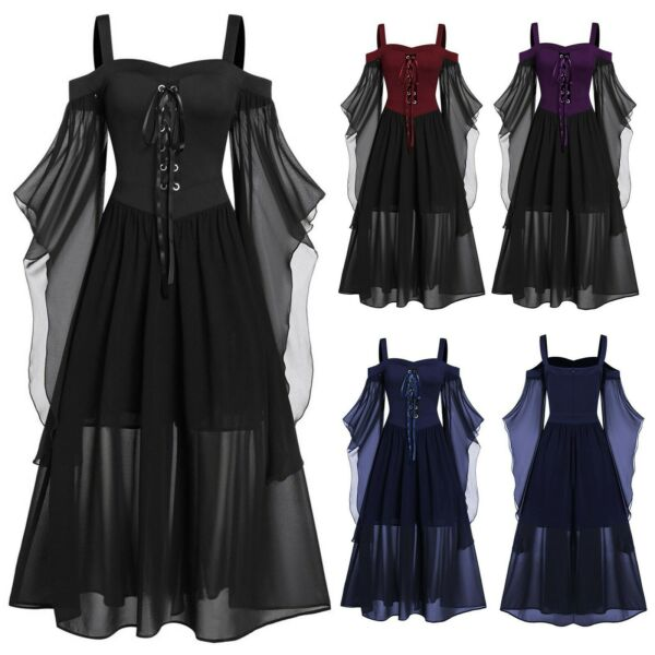 Halloween Costumes Womens Plus Size Cold Shoulder Butterfly Sleeve Lace Dress $31.56