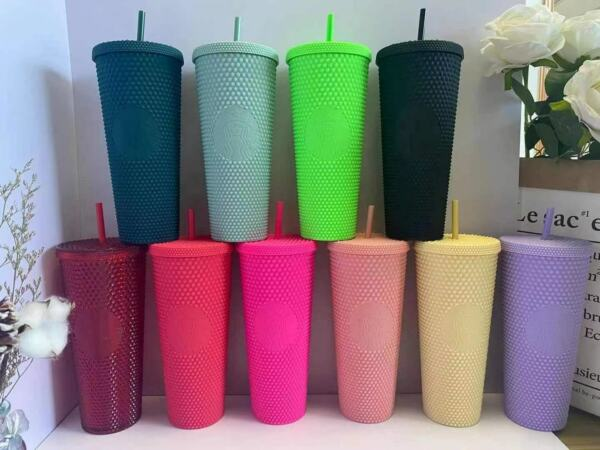 Starbucks Studded Cup Tumblers Matte Plastic Mugs PINK amp; more color 710ml 24Oz