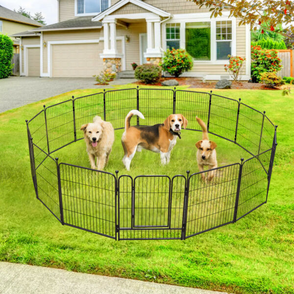 16 Panels 32 Inch Tall Dog Playpen Large Crate Fence Pet Play Pen Exercise Cag