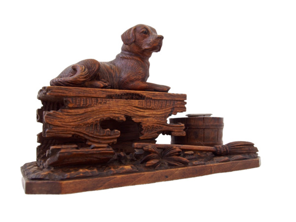Black Forest wooden carved Dog Inkwell Brienz ca. 1900