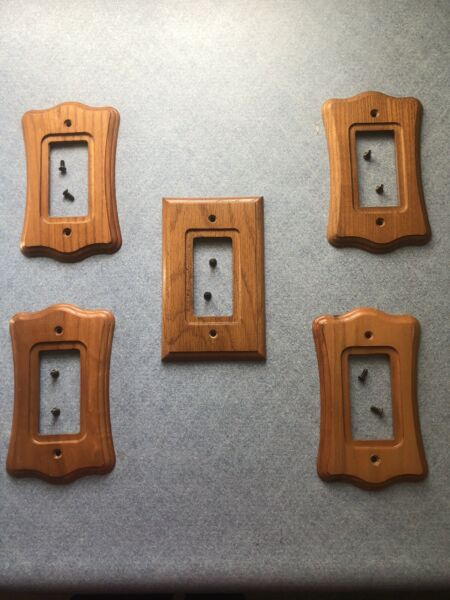 Traditional Vintage Authentic Wood Switch Plates Covers Set of 5 $1.99