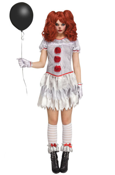 Pennywise Halloween Costume Carnevil Clown Adult Female Costume Large 12 14 $25.99