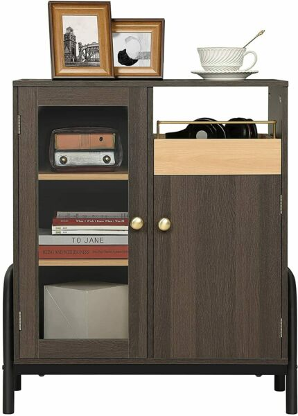 Buffet Storage Cabinet Console Table Server W Glass Door Drawers Kitchen
