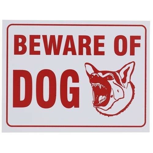 9quot; x 12quot; Beware of Dog Warning Sign Novelty Fence Post Plastic Land Yard $6.99