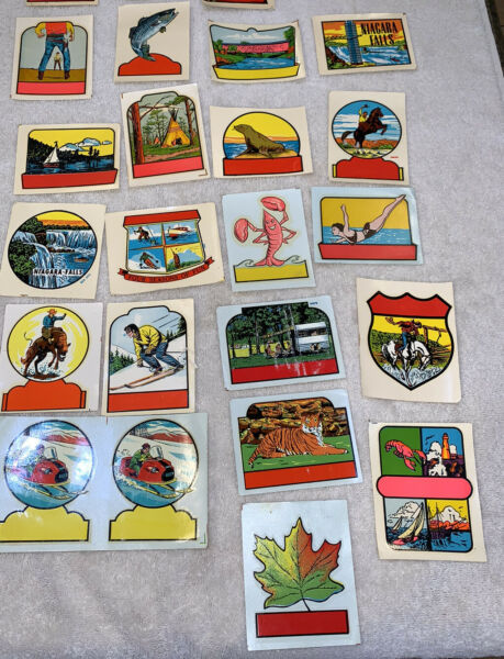 Lot 23 Vintage Travel Water Transfer Decals NY Maine Canada Cowboy Animals $30.00