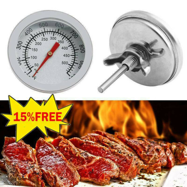 Stainless Steel Barbecue BBQ Smoker Grill Thermometer Temperature Gauge`xh