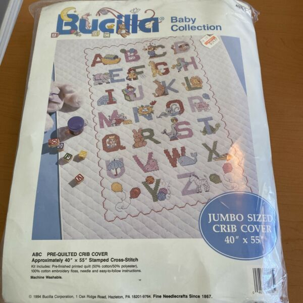 Vintage Bucilla Baby Collection quilted Crib Cover ABC Cross Stitch 40 x 55 Kit $29.00