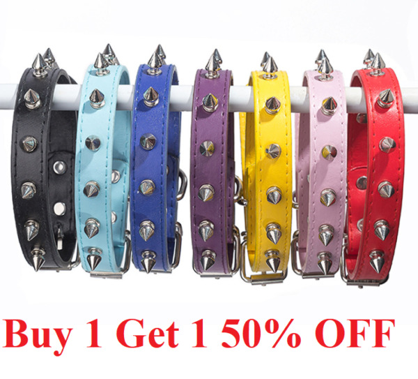 PU Leather Spiked Dog Collar XS S M L PU Leather Studded Dog Collar spiking $7.99