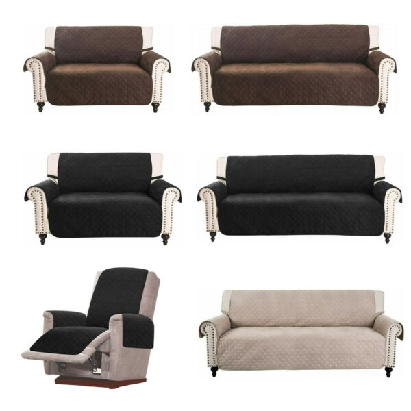 Faux Suede Sofa Covers for 3 Cushion Couch Slipcover Pet Dog Protector Furniture $22.99