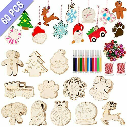 60PCS DIY Christmas Wooden Ornaments Unfinished Wood Slices with 12