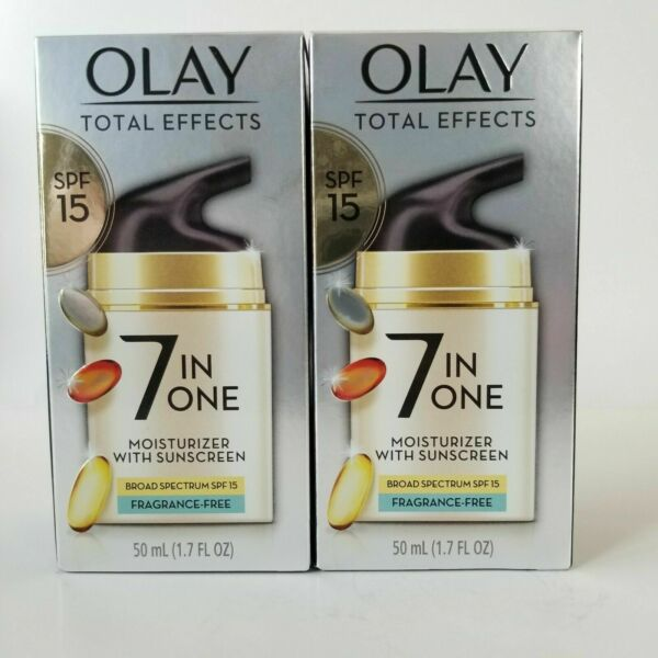 2 Olay Total Effects Face Moisturizer SPF 15 Fragrance Free 1.7 fl oz exp 2 22 $18.99