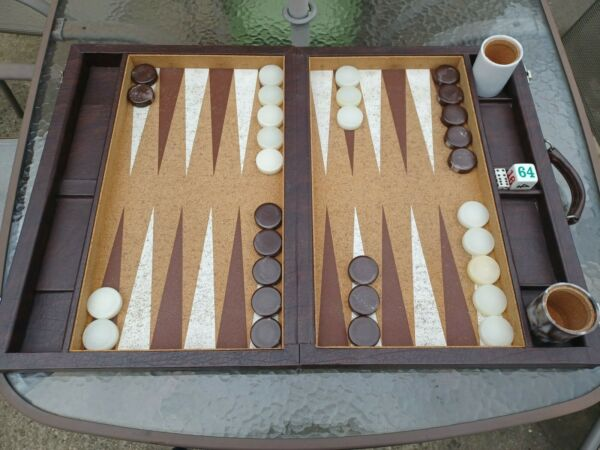 Vintage Crisloid Tournament Backgammon Set Marbled Brown and White Checkers