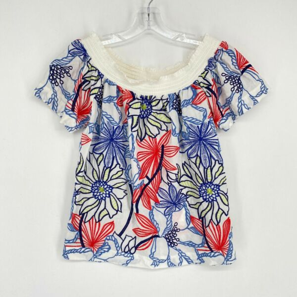 Skies Are Blue Off The Shoulder Floral Embroidered Top Size XS Blue Pink Multi $19.99