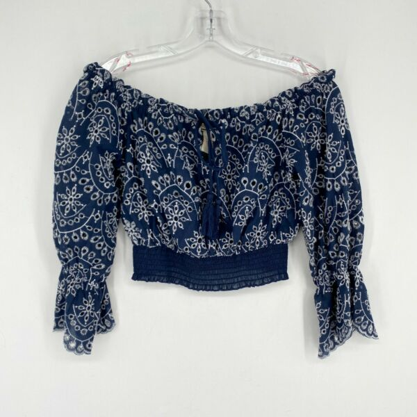 Flying Tomato Off The Shoulder Crop Top Sz Small Blue Floral Eyelet Boho Peasant $18.00