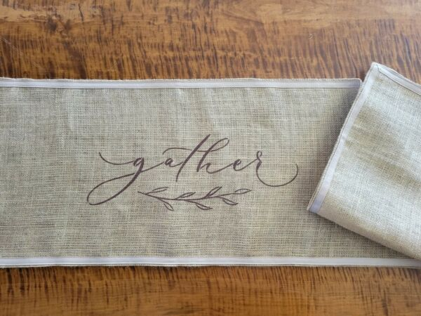 Gather Burlap Table Runner with Ribbon Trim Edge Rustic Farmhouse Style