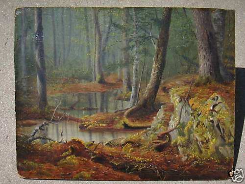 oil board wood interior landscape painting Asher Durand