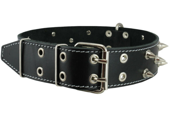 Genuine Leather Spiked Dog Collar XLarge Breeds 23quot; 28quot; Neck 1.75quot; Wide Black $32.55