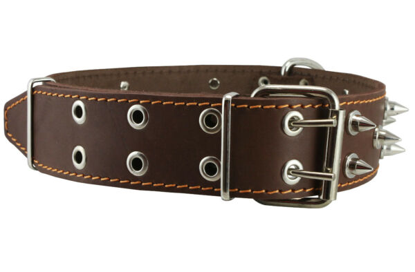 Genuine Leather Dog Collar Spiked 2quot; wide 22quot; 26quot; neck XLarge Rottweiler $25.15