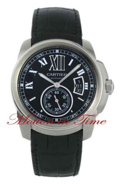 CARTIER CALIBRE AUTOMATIC LARGE STAINLESS STEEL BLACK ON STRAP REF # W7100014 $6450.00