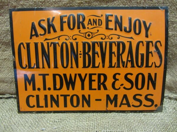 Vintage Embossed Clinton Beverages Sign gt; Antique Old Signs Soda Drink RARE 6940
