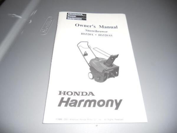 Honda HS520A HS520AS Snowmobile Harmony Owners Manual