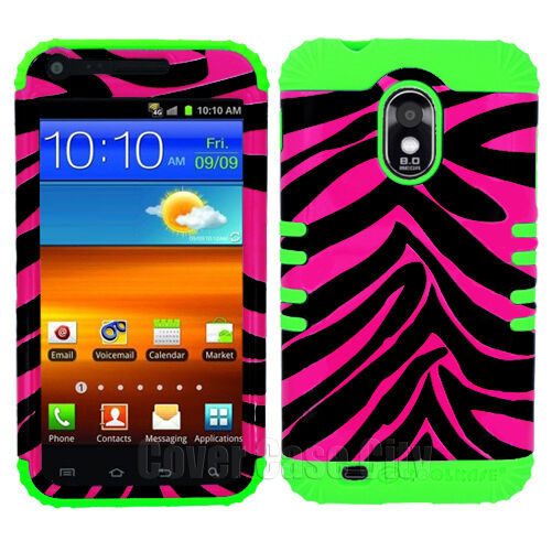 Green Silicone Pink Zebra Hybrid Case Cover Samsung Galaxy S 2 R760 US Cellular