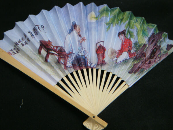 CHINESE GEISHA FANCY DRESS COSTUME WHITE PAPER amp; WOOD FANS WEDDINGS PARTIES GIFT GBP 1.99