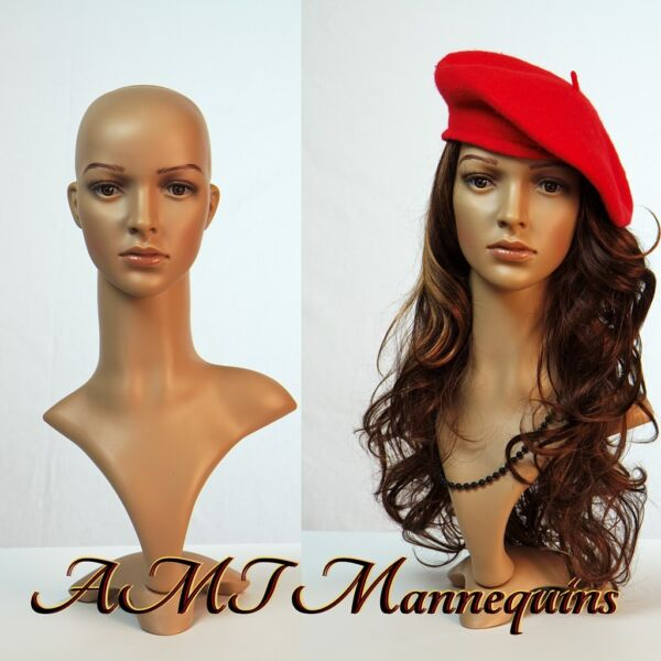 Female life size head to display wigs hats scarves mannequin head -FD2+2Wigs