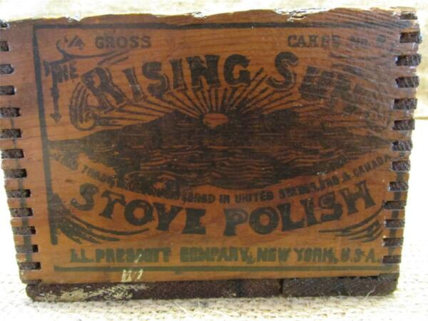 Vintage Rising Sun Stove Polish Wooden Shipping Box   Antique Boxes 8198