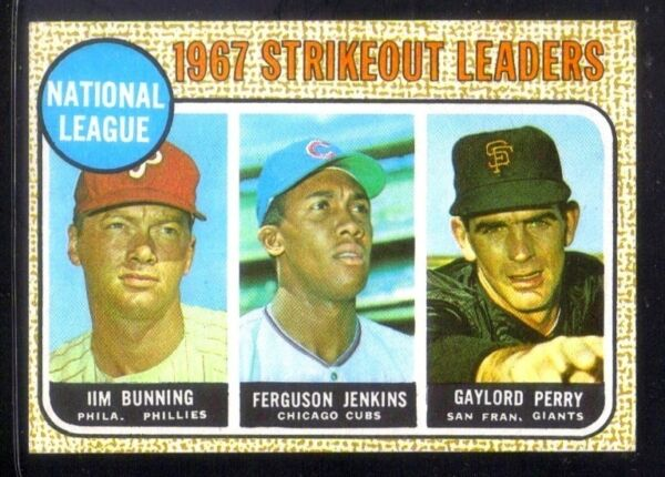 1968 Topps #11 Jim BunningJenkinsGaylord Perry '67 NL STRIKEOUT LEADERS ~ NM