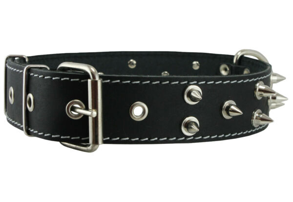 Real Leather Dog Collar Spiked 19quot; 23quot; neck 1.6quot; wide Rottweiler Bull Terrier $22.45