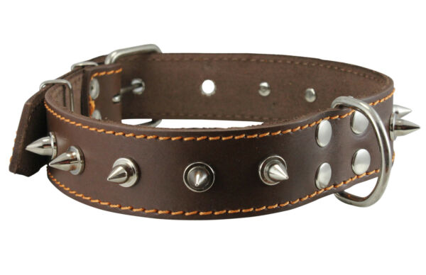 Genuine Leather Dog Collar Spiked Brown 17quot; 22quot; neck 1.5quot; wide Amstaff Pittbul $19.75