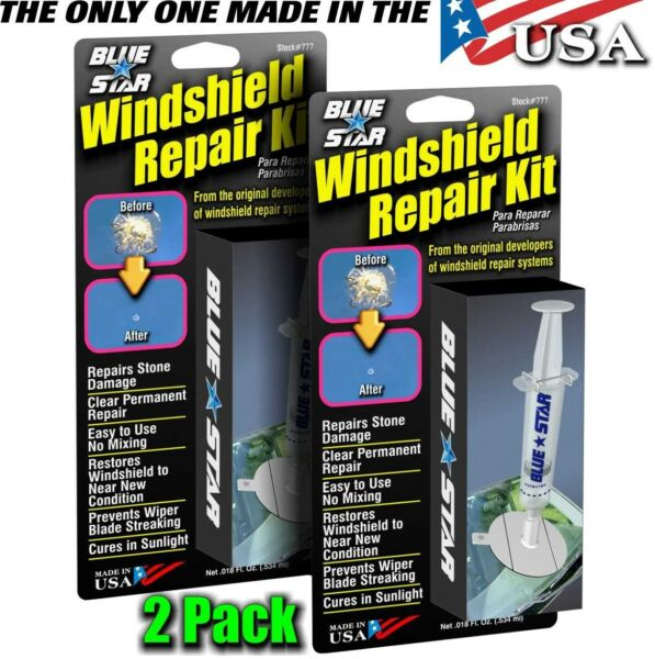 WINDSHIELD REPAIR KIT (2PACK) STONE DAMAGE CHIP BULLSEYE ROCK CHIP MODEL # 777
