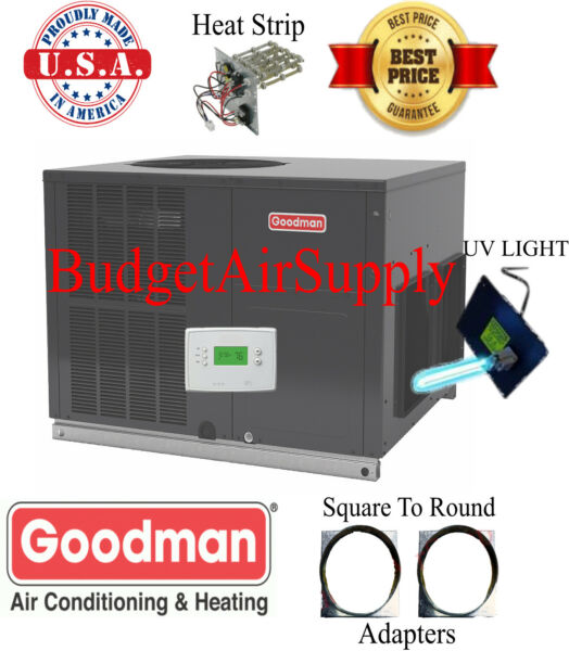 4 Ton 14 seer Goodman HEAT PUMP Multiposition Package Unit GPH1448M41+UV+Heat