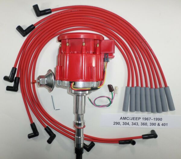 AMC/JEEP 1967-90 290,304,343,360,390,401 HEI DISTRIBUTOR & RED Spark Plug Wires