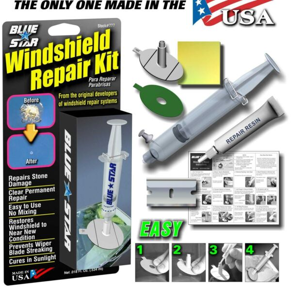 BLUE STAR DIY WINDSHIELD GLASS REPAIR KIT STONE DAMAGE CHIP MODEL # 777