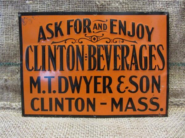 Vintage Embossed Clinton Beverages Sign gt; Antique Old Signs Soda Drink RARE 8825
