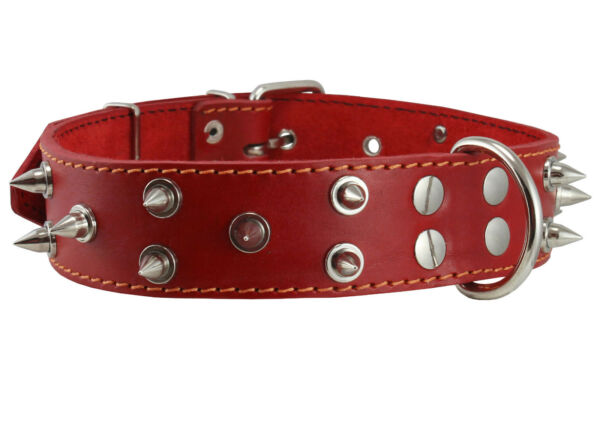 Genuine Leather Dog Collar Spiked 19quot; 24quot; neck 1.6quot; wide Mastiff Rottweiler $22.45