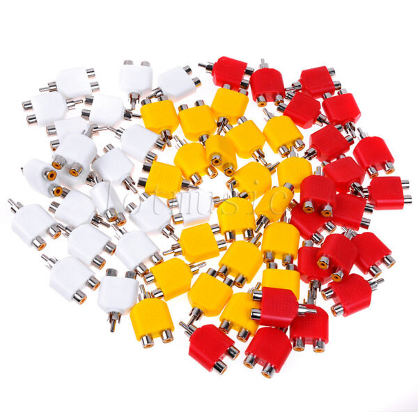 RCA Y Splitter AV Audio Video Plug Converter(10pcs white+10pcs red+10pcs yellow)