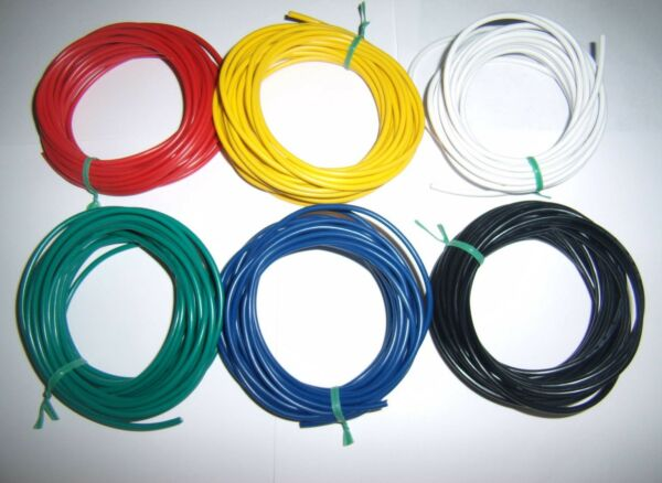 30' 16 Gauge AWG Ga Black Red Yellow White Green Blue Car Alarm Primary Wire 12V