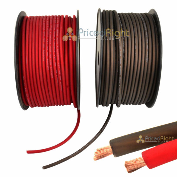 50' Super Flexible 8 Gauge Power & Ground Wire  Cable 25' Red 25 ft Black