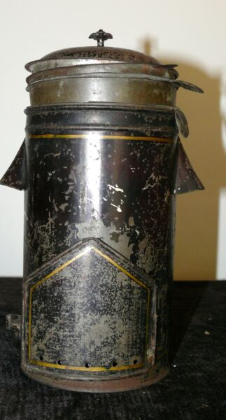 ANTIQUE RARE COFFEE POT TIN PAINTED TRAIL CAMP FIRE CABIN CAMPING 19TH CENTURY